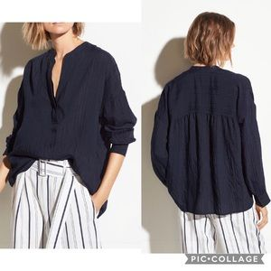 Vince Marine Navy Blue Drapey Stripe Airy Pullover